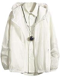 Sodossny-JP メンズ?サンプロテクションジャケット軽量フロントジップフードコート White M
