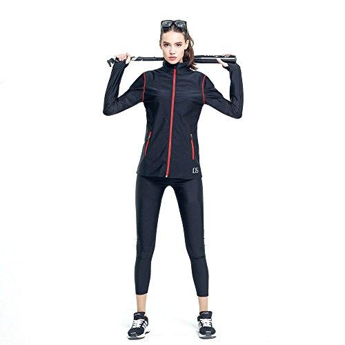 DREAM SLIMMER ストレッチ素材 上下セット トレーニングウェア サウナスーツ レディース Y269 (M, ブラック)