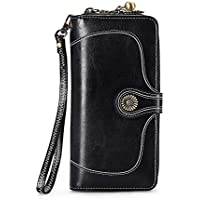 Retro Wallet Women Flower Button Real Leather Vintage Ornament Bifold Long Purse Zipper Strap Party Casual Travel