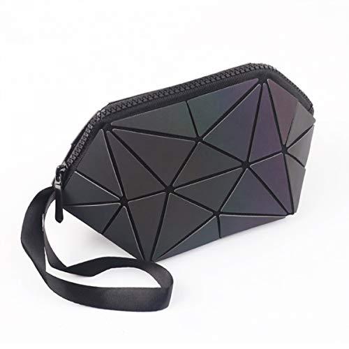 化粧ポーチ 幾何模様デザイン ホログラフィック反射素材 ファンデーションブラシ付き グレー