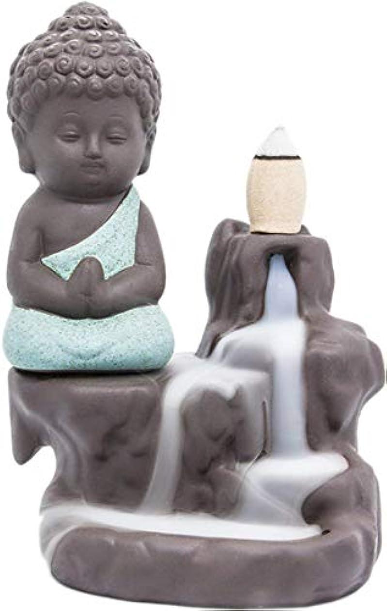 バット忌み嫌うレギュラーLightingsky 逆流式香炉 お香ホルダー セラミック磁器製 仏陀 モンク タワー コーン スティックホルダー グリーン