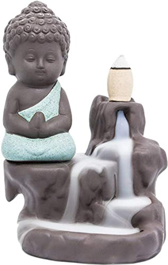 若い追加機会Lightingsky 逆流式香炉 お香ホルダー セラミック磁器製 仏陀 モンク タワー コーン スティックホルダー グリーン
