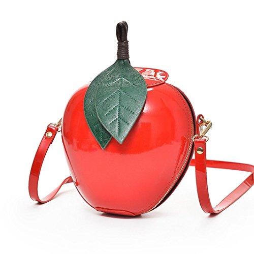 人気 かわいい リンゴ ショルダーバッグ レディース ポシェット レディース おもしろい 斜めがけ ポシェット 女の子 お財布 ショルダーバッグ レディース 斜めがけ 女性用 財布、鍵、携帯電話 、眼鏡、化粧品等の小物入れ  斜めがけ ショルダーバッグ/クラッチバッグ /ハンドバッグ/手提げバッグ(赤色) (赤色)