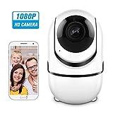 KKmoon ホームセキュリティ WIFIカメラ 1080Pワイヤレス IPカメラ ベビー モニター 動き検出 追跡 音声アラーム P/T/Zセキュリティカメラ TFカードレコード 2ウェイオーディオ ベイビー/ストア/オフィス/ペット/エルダー監視 白 ナイトビジョン