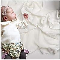 新作 ベビー 毛布 赤ちゃん ポンポン おくるみ お昼寝 柔らかく コットン バスタオル 大判サイズ 120x120cm ベビーブランケット 新生児 出産祝い ギフト (ホワイト ポンポン)