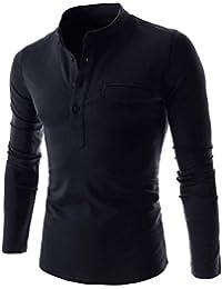 【Smile LaLa】 メンズ 長袖 Tシャツ トップス シンプル 無地 ヘンリー ネック ボタン インナー 薄手 カジュアル スリム 男性