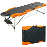 Portable Massage Bed Table - 3-Section Aluminum Foldable Beauty Couch for Reiki Therapy Treatment Salon Healing - with Carry Bag