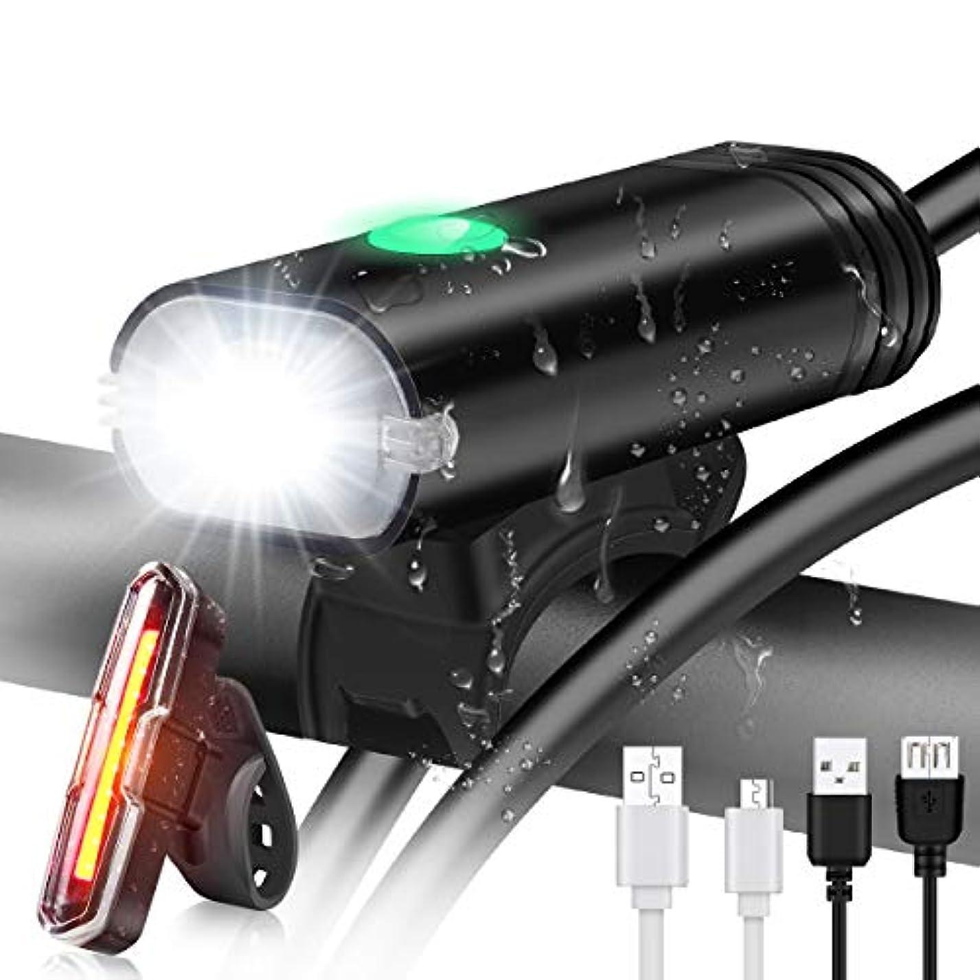 不承認忠実な焦がす自転車ライト USB充電式自転車ライトセット 高輝度LEDヘッドライトとテールライト マウンテンバイクとロードバイクのサイクリングに安全 ハイブリッド、ロード、MTBに対応 ナイトスポーツ用