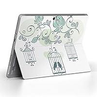 Surface go 専用スキンシール サーフェス go ノートブック ノートパソコン カバー ケース フィルム ステッカー アクセサリー 保護 鳥 植物 緑 009298
