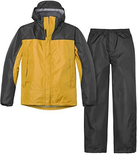 (テスラ)TESLA メンズ レインウェア 上下セット アウトドア 登山 雨具 MES11 上:チャコール/イエロー 下:チャコール M