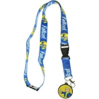 Fallout Reversible Breakaway Keychain Lanyard with ID Holder, Vault Boy Rubber Charm and Collectible Sticker