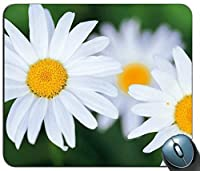 白い花おしゃれスリップ防止マウスパッド、ゲーミング長方形おしゃれスリップ防止マウスパッド