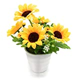 BEADY ヒマワリ 造花 人工観葉植物 造花 光触媒 フェイクグリーン インテリア ギフト お祝い (円の鉢)