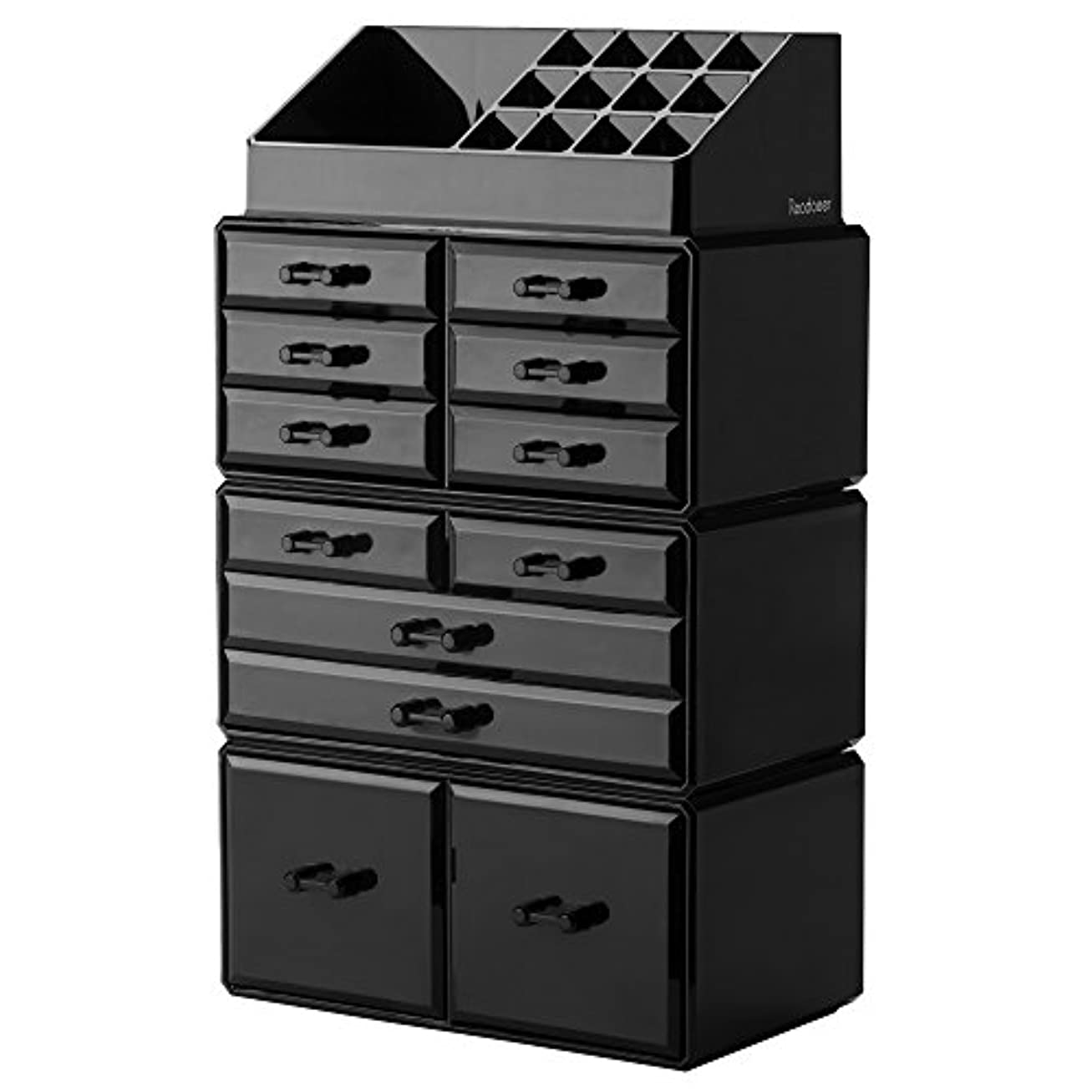 肥満増強フォージ(Black) - Readaeer Makeup Cosmetic Organiser Storage Drawers Display Boxes Case with 12 Drawers(Black)