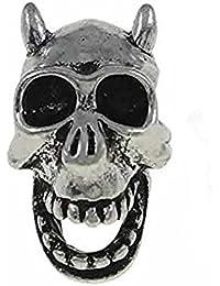 SEXY SPARKLES Women's European Horned Devil Skull Charm Bead Spacer For Snake Chain Charm Bracelet