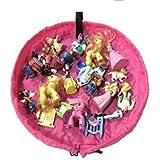HOPIC おもちゃ 片付け プレイ マット LEGO トミカ お片付け 収納 袋 直径45cm (ミニサイズ:ピンク)