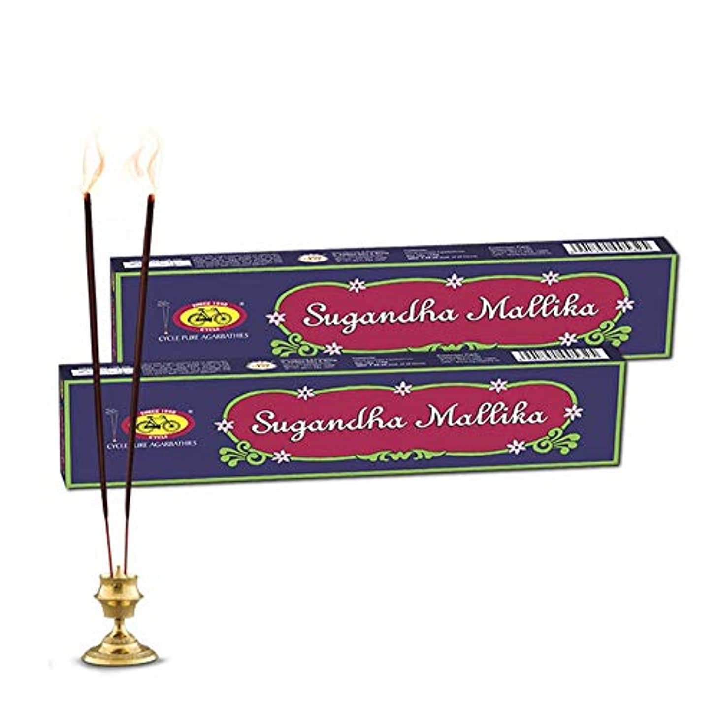 焦がすれんがツーリストCycle Pure Agarbathies Dual Pack Sugandha Mallika Incense Sticks with Mogra Juhi and Chameli Fragrances - Pack of 2