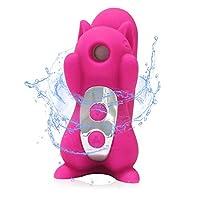 水着 ラブグッズー可愛いリス バイブレーター潮吹きバイブ 女性用 クリ/乳首マッサージ器 10吸引+10振動モード (バラ色)
