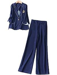 MIKOO パンツスーツレディース ジャケット+ ワイドパンツ 2点セットアップ オフィス 就活 通勤 ビジネス 事務服 フォーマルスーツ 大きいサイズ 入社式 OLスーツ