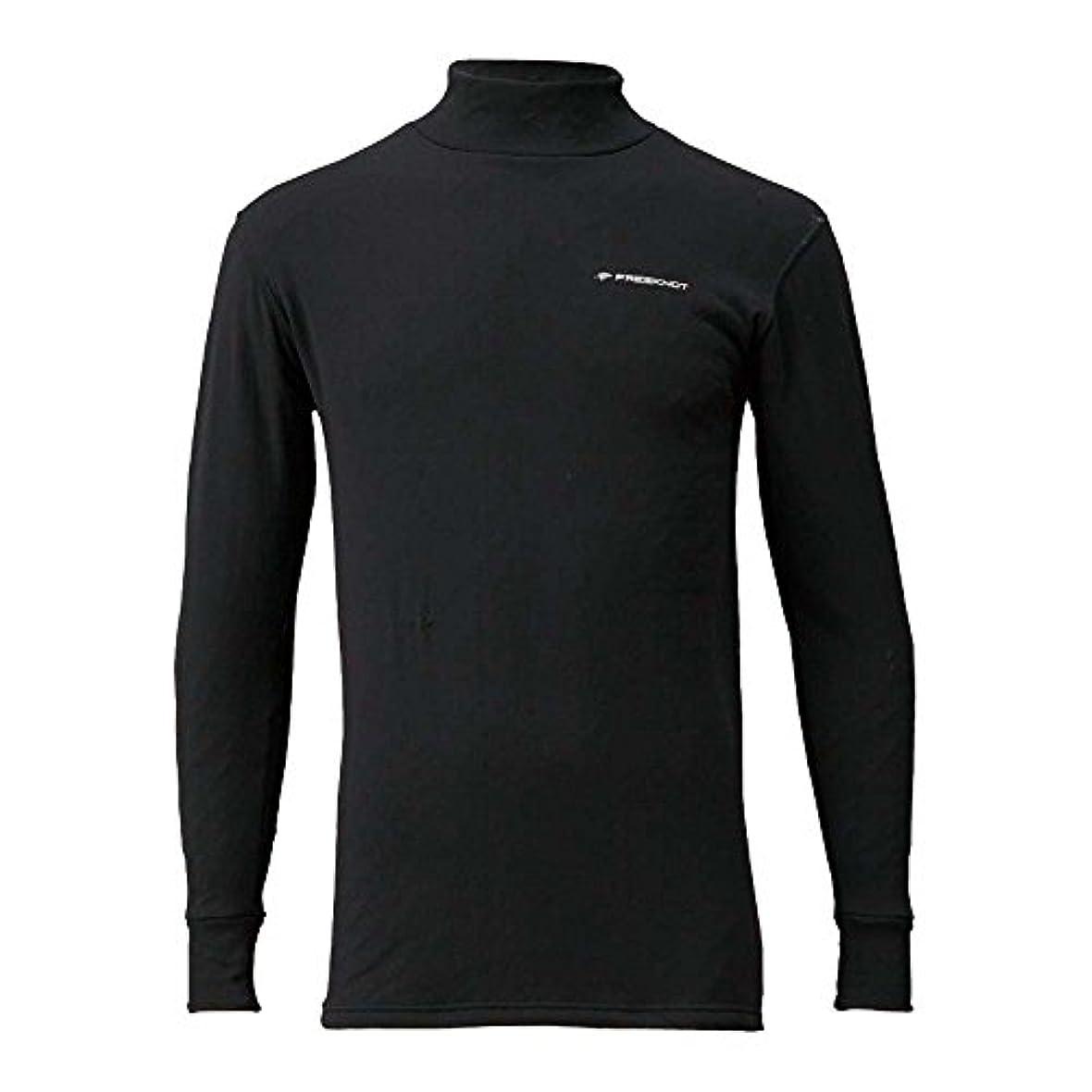 正しい液体困惑フリーノット(FREE KNOT) レイヤーテック モックネックシャツ ストレッチ厚手 L Y1634 90 ブラック