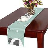 GGSXD テーブルランナー 面白い パンダ クロス 食卓カバー 麻綿製 欧米 おしゃれ 16 Inch X 72 Inch (40cm X 182cm) キッチン ダイニング ホーム デコレーション モダン リビング 洗える