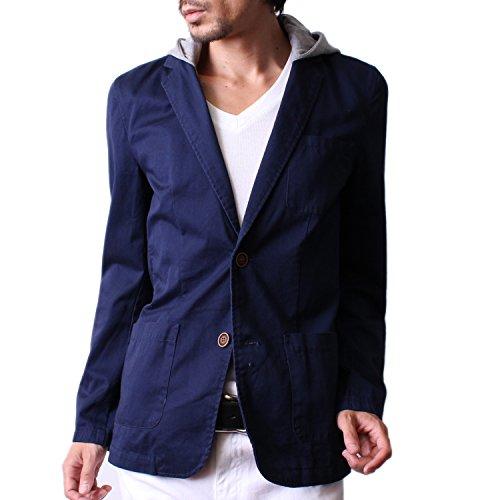 (ハイクオリティプロダクト) High quality product メンズ フード付き2wayテーラードジャケット テーラードジャケット ネイビー Mサイズ