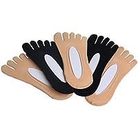 Toe Socks, 5 Pairs Women Five Socks NO Show Cotton Liner socks, Microfiber Ultra Low Cut Liner with Gel Tab