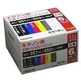 ワールドビジネスサプライ Luna life キャノン用 BCI-351XL+350XL/6MP 互換インクカートリッジ LN CA350+351/6P