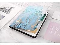 iPad mini5 ケース (7.9 インチ) 大理石の紋高級PUレザー製 手帳型 スタンド オートスリープ機能 スマートカバー (iPad mini5, ブルー)