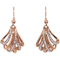 Bevilles Rose Stainless Steel Crystal Crossover Drop Earrings