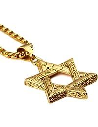 メンズ18 KGold Plated Judaism Jewish Jewスターチャーム70 cmチェーンチタン鋼ペンダントネックレスヒップホップ