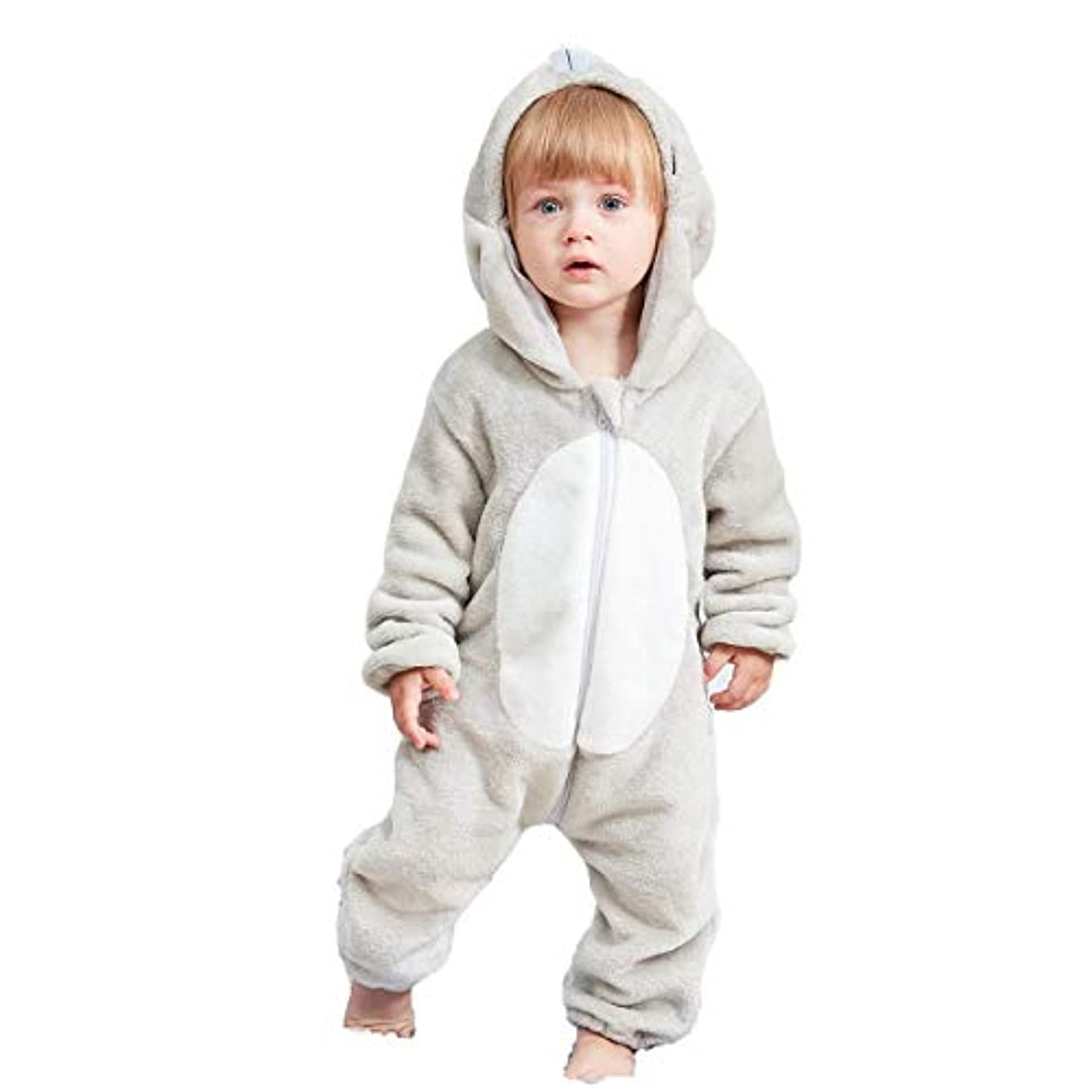 BHKK ベビー 着ぐるみ ロンパース もこもこ カバーオール キッズ コスチューム 防寒着 男の子 女の子 出産祝い 百日祝い プレゼント フクロウ 80