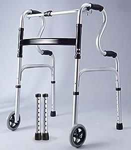 Primelife 折りたたみアルミ製歩行補助器 固定&キャスター選択式