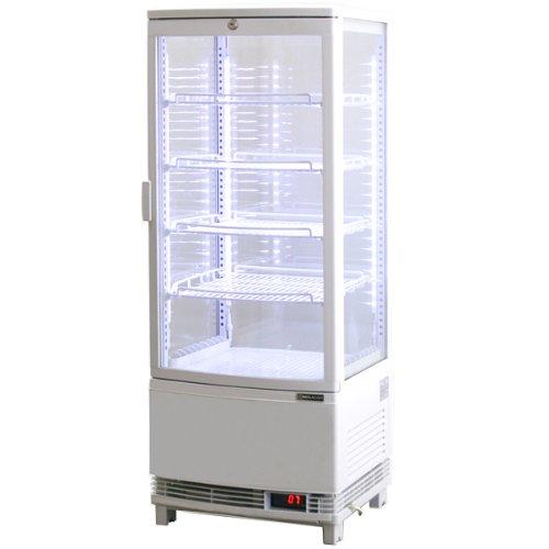 レマコム 4面ガラス冷蔵ショーケース(LED仕様) 前開きタイプ 98リットル 幅425×奥行412×高さ1087(mm) RCS-4G98SL