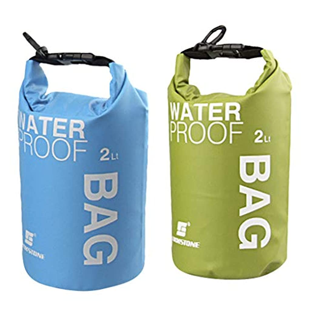 Perfeclan PVCメッシュクロス 2本 防水ドライバッグ袋 ポーチ カヤック キャンプ ラフティング フローティング 2L