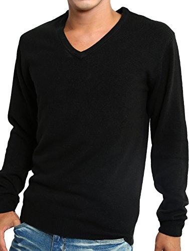 インプローブス セーター カシミア タッチ アクリル Vネック 長袖 ニット メンズ ブラック Mサイズ