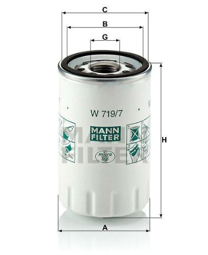 MANN オイルフィルター (デイムラー) W 719/7 【型式:E-DMFB 初年:97/10-00/01】