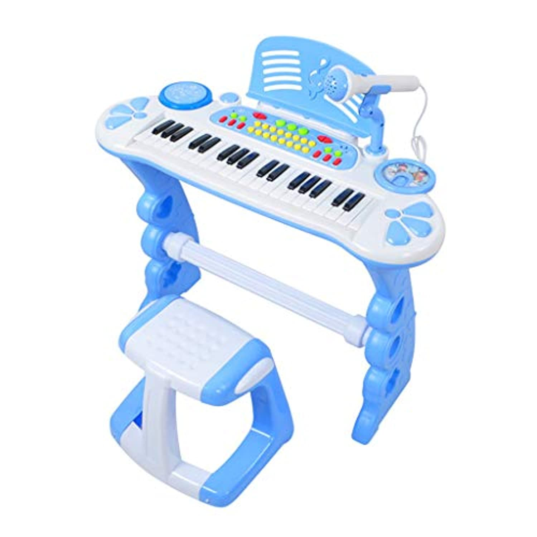 LINGLING-キーボード キーボードピアノ音楽玩具多機能マイク付き (色 : 青, サイズ さいず : A)