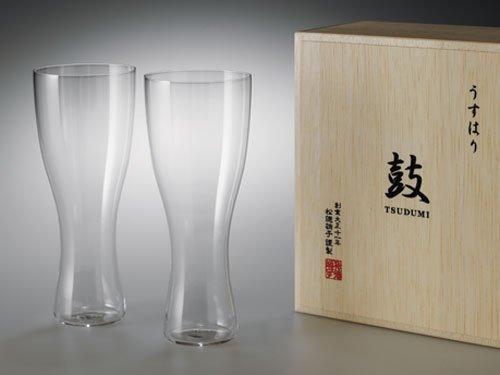 うすはりグラス 鼓 ビールグラス(ピルスナー)木箱2個セット