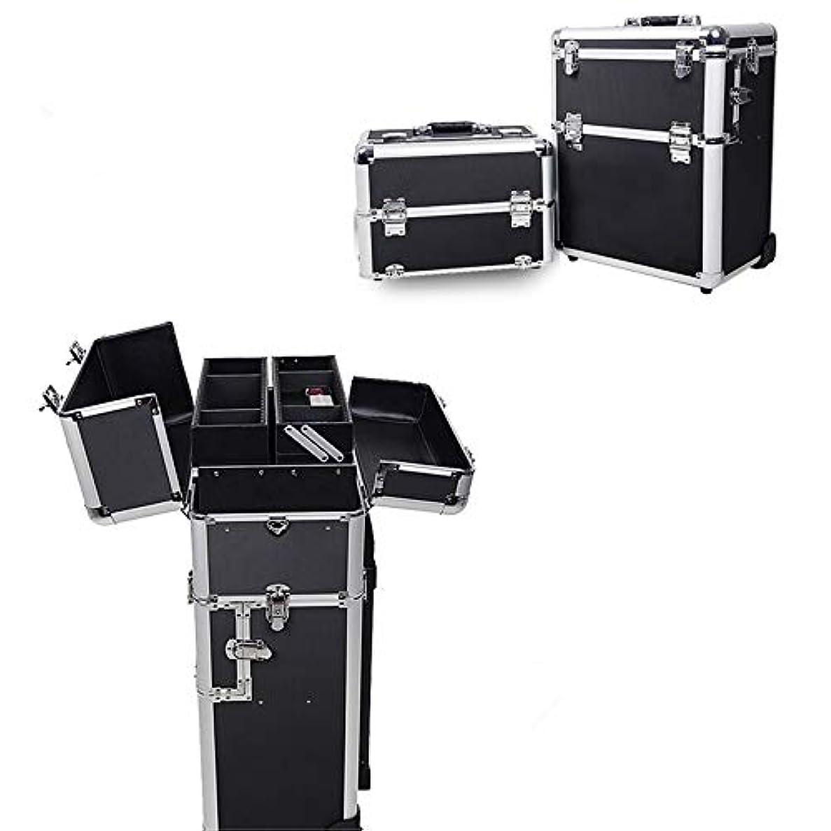 ストライプ上ハント化粧オーガナイザーバッグ 旅行メイクバッグ3層スーツケースメイク化粧品バッグポータブルトイレタージュ化粧ケース 化粧品ケース