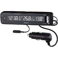 ナポレックス 車用 電波時計 Fizz VTメータークロック ピアノブラック アイドリングストップ車対応 2色LED Fizz-1025