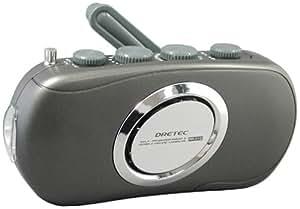 DRETEC 手回しケータイ充電 スリムラジオライト(防滴タイプ) ブラック PR-310BK