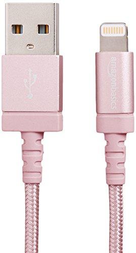 Amazonベーシック Apple認証 高耐久ナイロン ライトニングUSB充電ケーブル ローズゴールド 0.9m