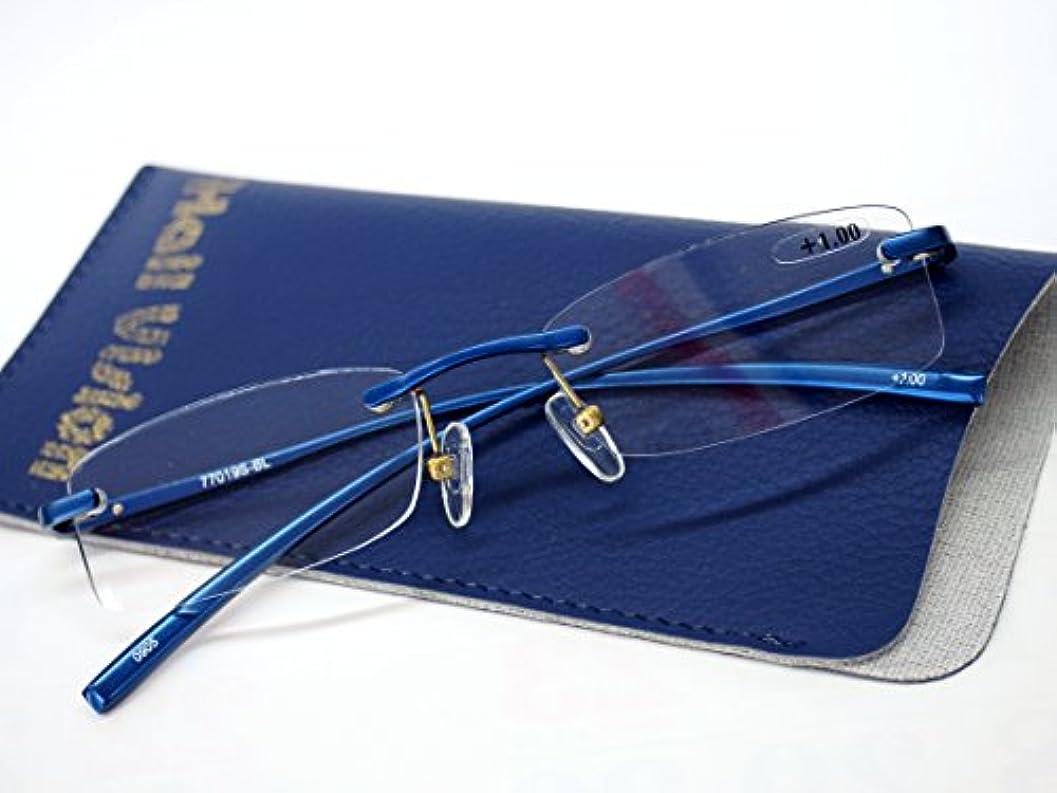 プランター辛い不明瞭すっきり フチ無し リーディンググラス シニアグラス コンパクト 老眼鏡 ブルー (+3.00)