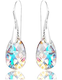 Royal Crystals Sterling Silver Made with Swarovski Crystals Blue Aurora Borealis Drop Dangle Hook Earrings
