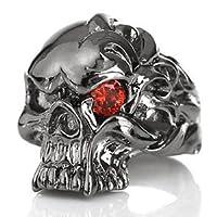 bssri0020-19 【ブランド名:2PIECES】 リング メンズリング 指輪 ブラスアクセサリー スカルリング 真鍮 レッドジルコニア 【19号】