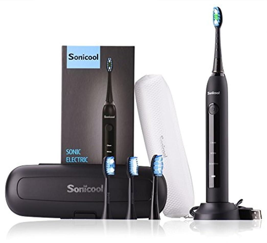 すき運ぶ掃く電動歯ブラシ Sonicool 超音波振動歯ブラシ 3モート 2分間タイマー IPX7級防水 丸水洗い USB充電式 長持ち 4本替えブラシ付 収納ケース付 黒