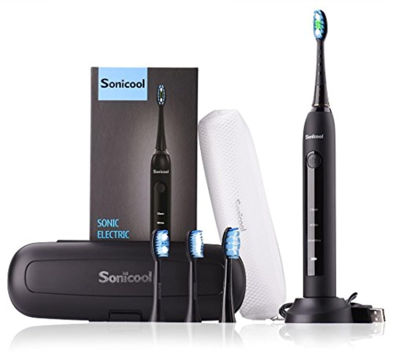 電動歯ブラシ Sonicool 超音波振動歯ブラシ 3モート 2分間タイマー IPX7級防水 丸水洗い USB充電式 長持ち 4本替えブラシ付 収納ケース付 黒