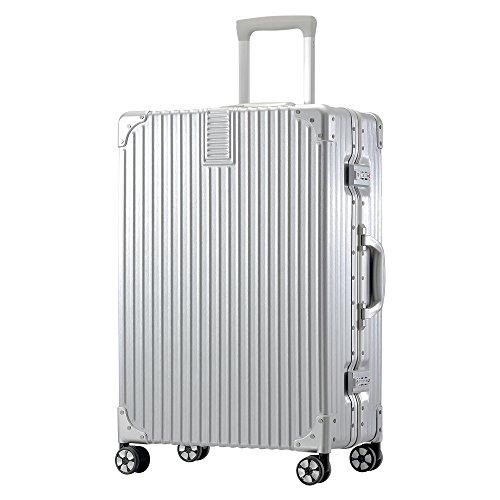 TABITORA(タビトラ) スーツケース メーカー1年保証 大型 人気 キャリーバッグ TSAロック搭載 旅行用品 出張 超軽量 大容量 静音 8輪 アルミフレーム 77L 5.1KG シルバー L