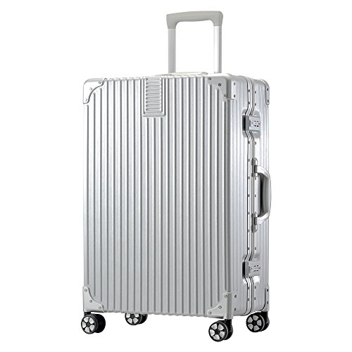 【タビトラ】TABITORA ノー・ジッパー TSAロック 超軽量 アルミフレーム シルバースーツケース M